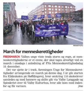 March for Menneskerettigheder i Valby Bladet 2014 - Unge for Menneskerettigheder