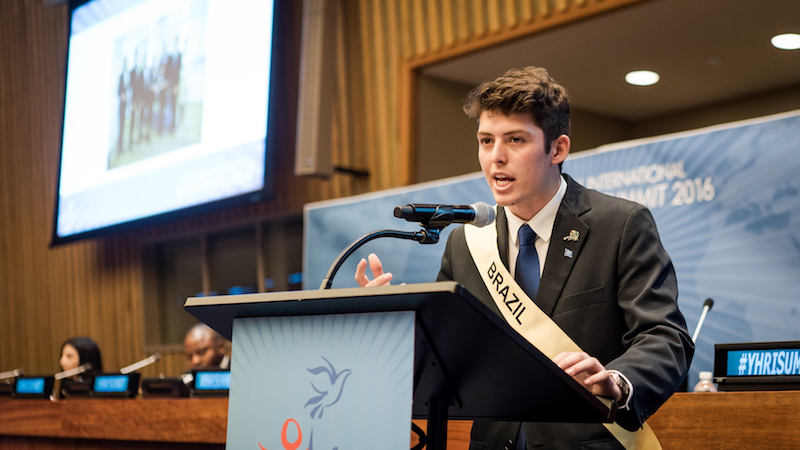 Brazil representative speaks at Youth for Human Rights Summit 2016 UN Headquarters New York